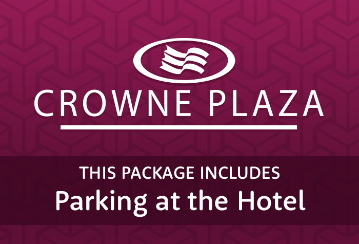 Crowne Plaza with parking at the hotel logo
