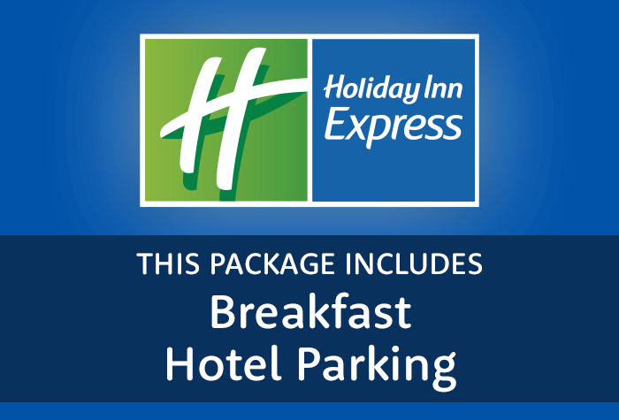 Holiday Inn Express with hotel parking and breakfast logo